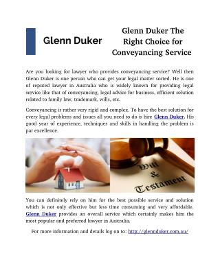Glenn Duker The Right Choice for Conveyancing Service