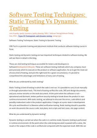 Static Testing Vs Dynamic Testing