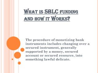 What is SBLC funding and how it Works?