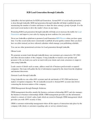B2B Lead Generation  Through LinkedIn