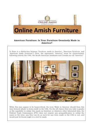 American Furniture: Is Your Furniture Genuinely Made in Amer