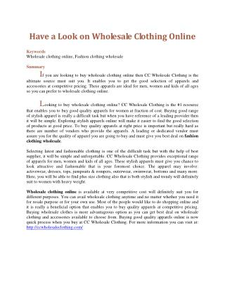 Have a Look on Wholesale Clothing Online