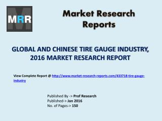 Global Tire Gauge Industry Current State and Chinese Market in 2016 Report