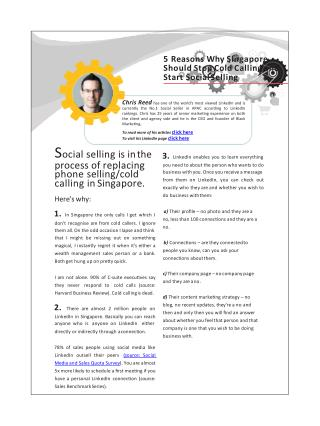 5 reasons why Singapore should stop cold calling and start social selling