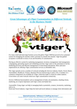 Great Advantages of vTiger Customization in Different Verticals in the Business World!