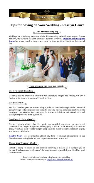 Tips for Saving on Your Wedding - Roselyn Court