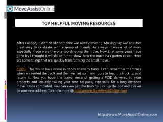 List of Top Helpful Moving Resources