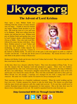 The advent of lord krishna