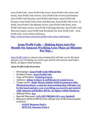 Azon Profit Code Review - Azon Profit Code  100 bonus items