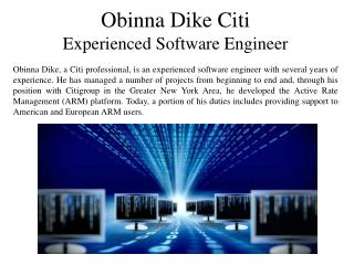 Obinna Dike of Citi  - Experienced Software Engineer