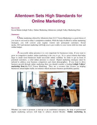Allentown Sets High Standards for Online Marketing