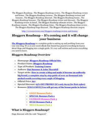 The Bloggers Roadmap review - (FREE) Jaw-drop bonuses