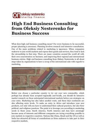 High End Business Consulting from Oleksiy Nesterenko for Business Success