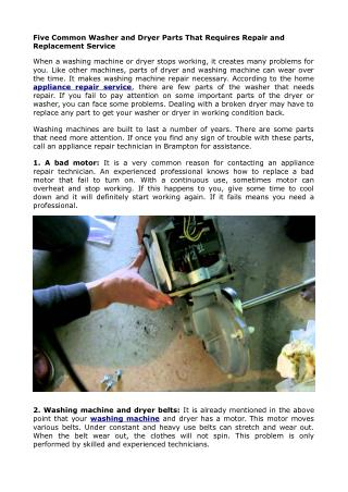 Five Common Washer and Dryer Parts That Requires Repair and Replacement Service