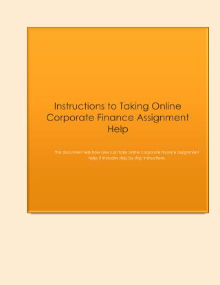 Instructions to Taking Online Corporate Finance Assignment Help