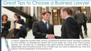 Great way to choose an Excellent Business Lawyer