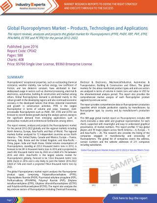 Demand for Melt-proccessible Fluoropolymers such as PVDF to Drive Global Fluoropolymers Market to reach 402k MTs by 2022