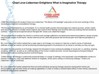 Chad Love-Lieberman Enlightens What is Imaginative Therapy