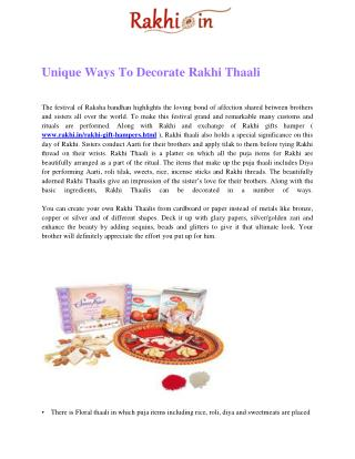 Unique Ways To Decorate Rakhi Thaali