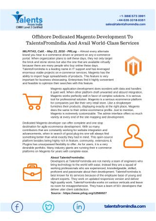 Avail World-Class Offshore Dedicated Magento Development Services At TalentsFromindia