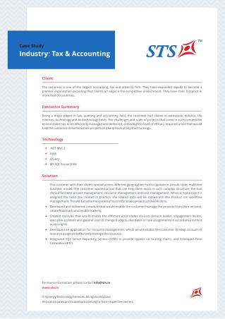 Case Study - Workflow Management For Accounting ,Tax And Advisory Firm