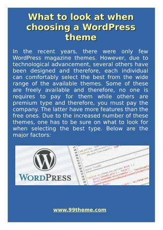 What to Look at When Choosing a WordPress Theme