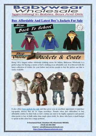 Buy Affordable And Latest Boy�s Jackets For Sale
