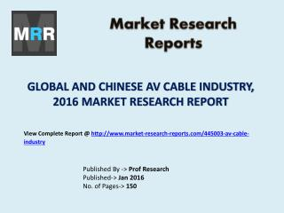 Global AV Cable Market Capacity Production and Chinese Industry Growth Rate Analysis and Forecasts 2016 to 2021
