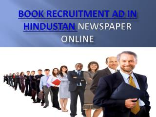 Recruitment ad booking or publishing in hindustan hindi