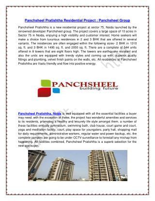 Panchsheel Pratishtha Residential Project : Panchsheel Group