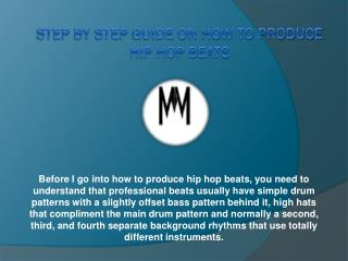Step By Step Guide on How To Produce Hip Hop Beats