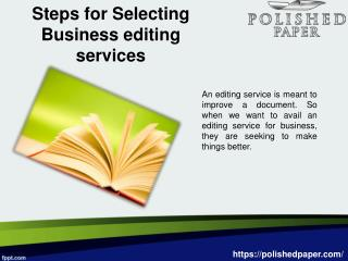 Steps for selecting business editing services