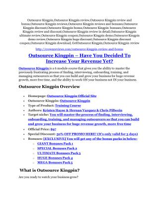 Outsource Kingpin Review - (FREE) Bonus of Outsource Kingpin