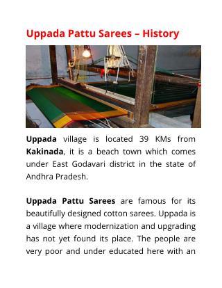 Uppada Pattu Sarees - History
