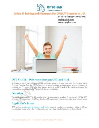 OPT vs H1B Visa - Difference between OPT and H1-B