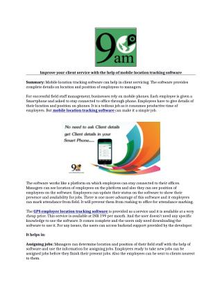Mobile location tracking software