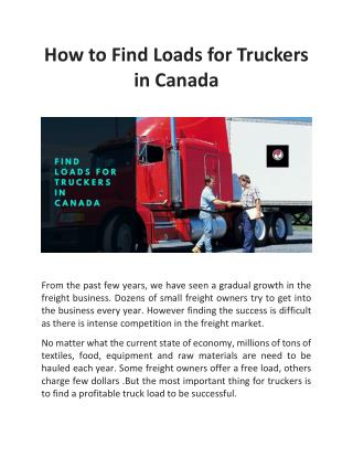 How to Find Loads for Truckers in Canada