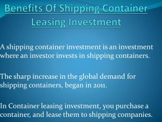 Benefits Of Shipping Container Leasing Investment