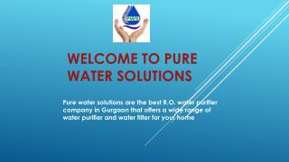 Buy RO Water Purifiers & Filters for Home & Office:Pure Water Solutions