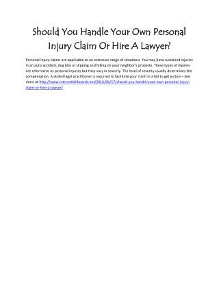 Should You Handle Your Own Personal Injury Claim Or Hire A Lawyer?