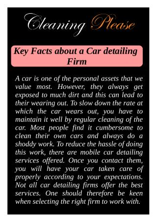 Key Facts about a Car detailing Firm