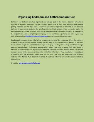 Organizing bedroom and bathroom furniture
