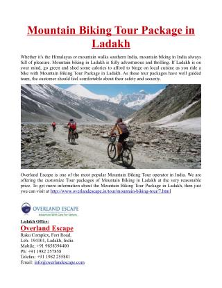 Mountain Biking Tour Package in Ladakh