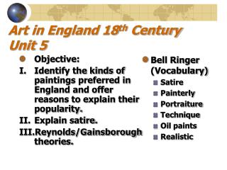 Art in England 18th Century Unit 5