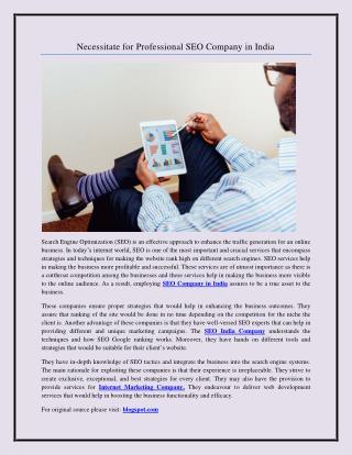Necessitate for Professional SEO Company in India