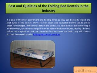 Best and Qualities of the Folding Bed Rentals in the Industry