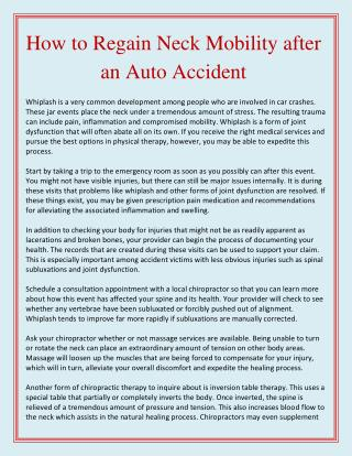 How To Regain Neck Mobility After An Auto Accident