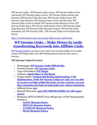 WP Income Links review and (Free) $21,400 Bonus & Discount