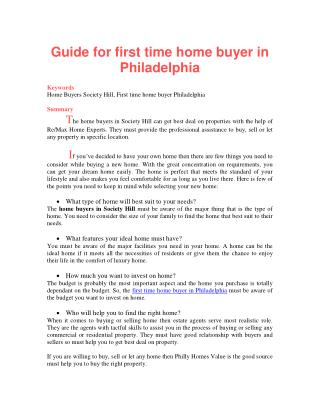 Guide for first time home buyer in Philadelphia