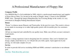 a professional manufacturer of floppy hat, beach hat, sun hat, wide brim hat,